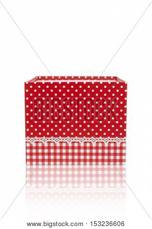 open empty red gift box with reflection shadow on white background for put your object isolated