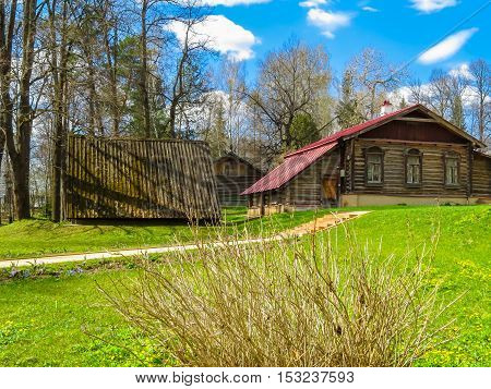 ABRAMTSEVO, RUSSIA - MAY 1, 2016: Memorial manor Abramtsevo artistic and literary museum-reserve. Old wooden rural house