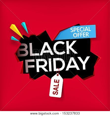 Black friday banner. Cracked hole in wall with black friday inscription. Sale and discount. New offer. special offer. Vector illustration.