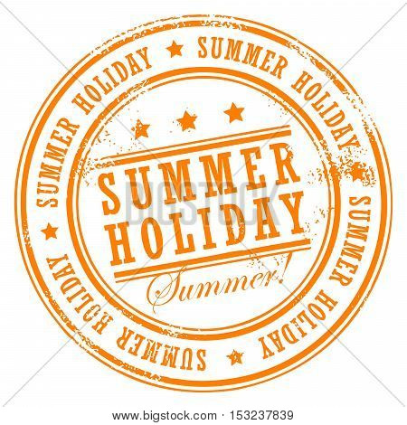 Grunge rubber stamp with small stars and the word Summer Holiday inside, vector illustration
