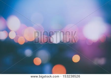 Abstract Background With Bokeh Defocused Lights And Shadow From Cityscape At Night, Vintage Or Retro