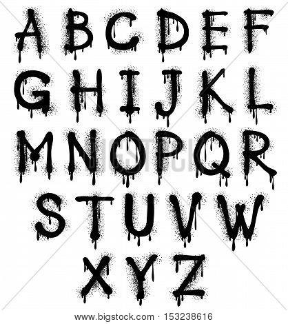 Graffiti splash vector alphabet, font, grunge text. Abc spray effect illustration