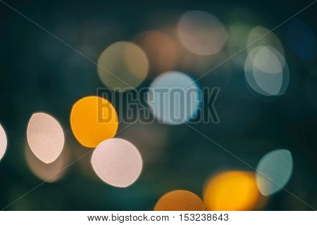 Abstract Background With Bokeh Defocused Lights And Shadow From Christmas Night Party, Vintage Or Re