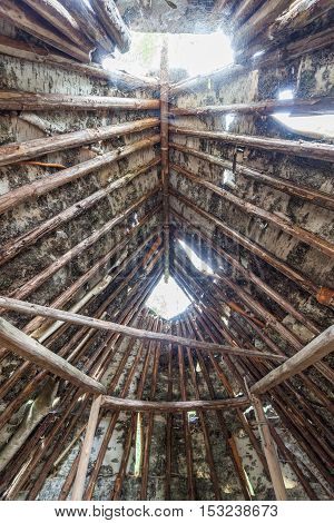Stone age birch bark hut in forest