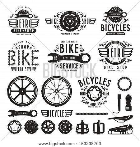 Set of vintage bike shop badges and labels. Isolated on white background
