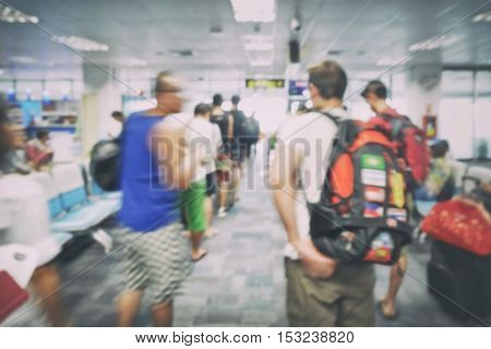 Blur Background Travelers Boarding Area At Airport