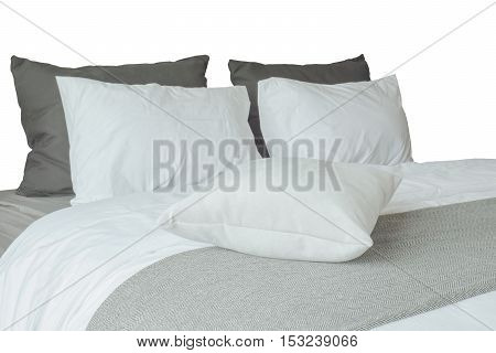 Soft White Pillows And Comfortable Bed On White Background With Clipping Path