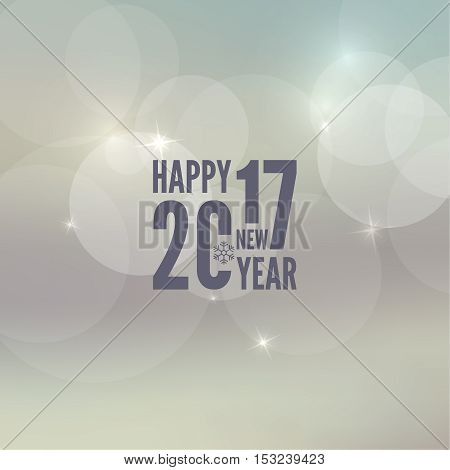 Abstract blurred vector background with sparkle stars. Happy New Year 2017 theme. For decorations festivals, xmas, glamour holiday, illuminated, celebration. Vector