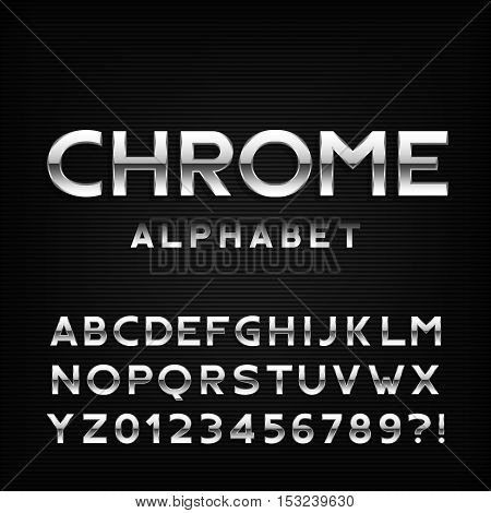 Chrome alphabet font. Metal effect italic letters and numbers. Stock vector typography for your design.