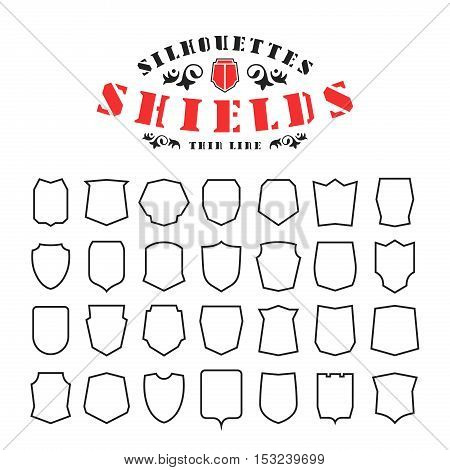 Stock Vector Set Of Shields Silhouettes In Thin Line Style