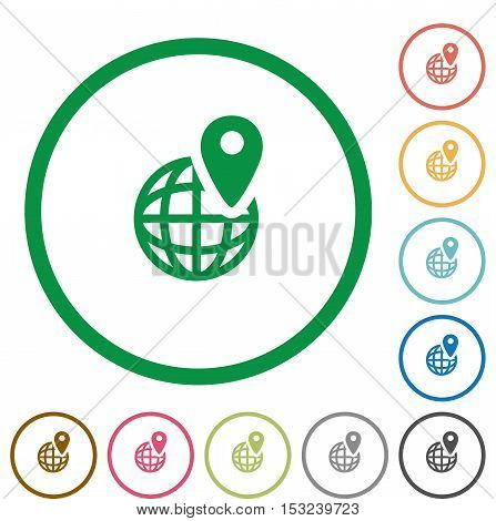 GPS location flat color icons in round outlines