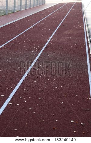 Sport, outdoor. Running track during the day