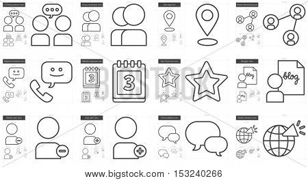 Social media vector line icon set isolated on white background. Social media line icon set for infographic, website or app. Scalable icon designed on a grid system.