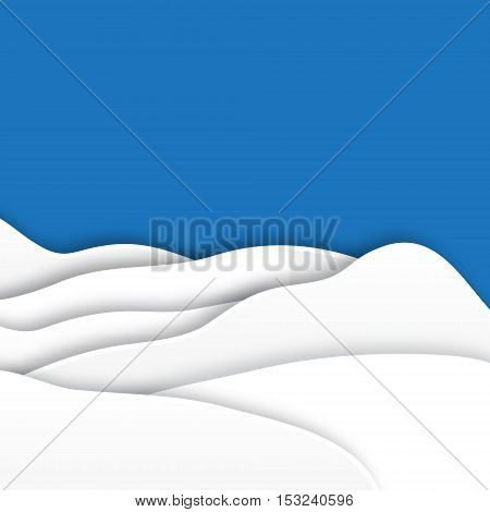 Origami snow mountains. Christmas paper cut card with landscape. Vector applique illustration