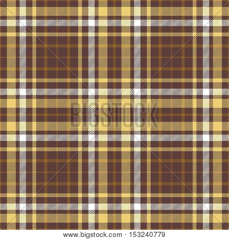 Seamless tartan plaid pattern in twill stripes of golden yellow & chocolate brown.