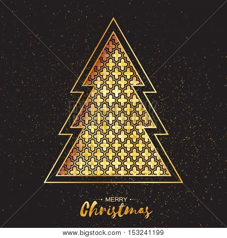 Christmas gold tree. Greeting card. Happy New Year on black background with symmetry ornament. Vector illustration