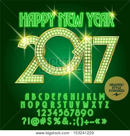 Vector green light up Happy New Year 2017 greeting card with set of letters, symbols and numbers. File contains graphic styles
