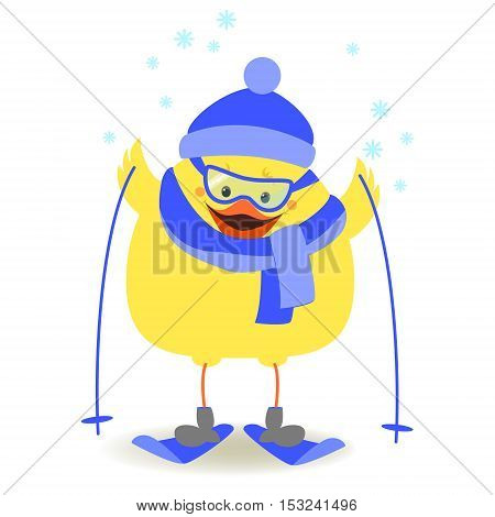 Chicken athlete. Chicken skiing in winter clothes. Vector