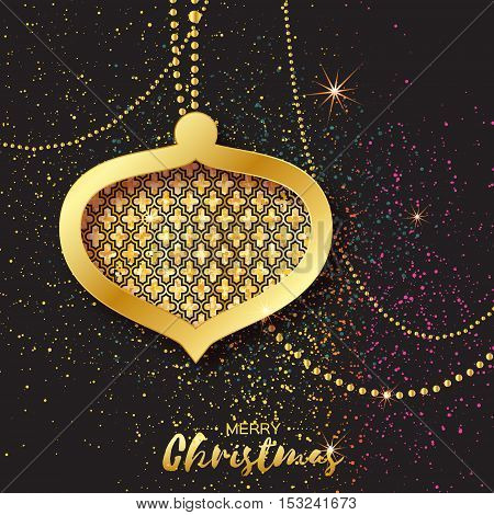 Merry Christmas Golden Glitter balls. Beautiful Decoration Bauble elements and garlands on black background. Happy New Year Greeting card. Vector design illustration