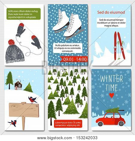 Set of 6 lovely cards templates. Christmas theme. Winter time. There is a place for your text. Vector illustration.
