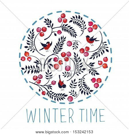 Bullfinches, berries and curved branches. The pattern in the circle. Vector illustration.
