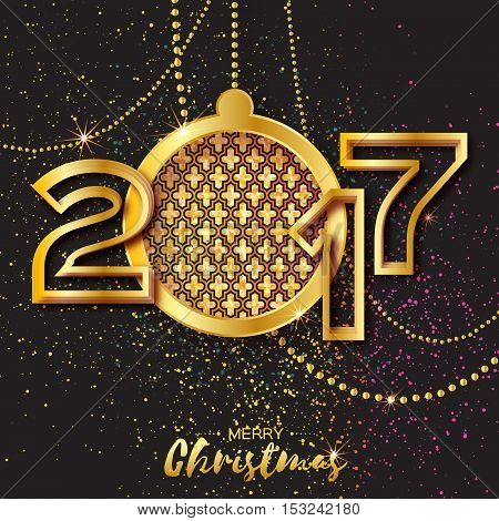 Merry Christmas Golden Glitter balls. Beautiful Decoration Bauble elements and garlands on black background. 2017 Happy New Greeting card. Year Vector design illustration