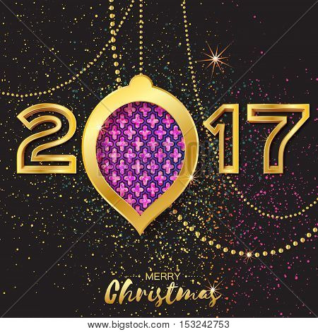 Merry Christmas Golden Purple Glitter balls. Beautiful Decoration Bauble elements and garlands on back background. 2017 Happy New Year Greeting card. Vector design illustration