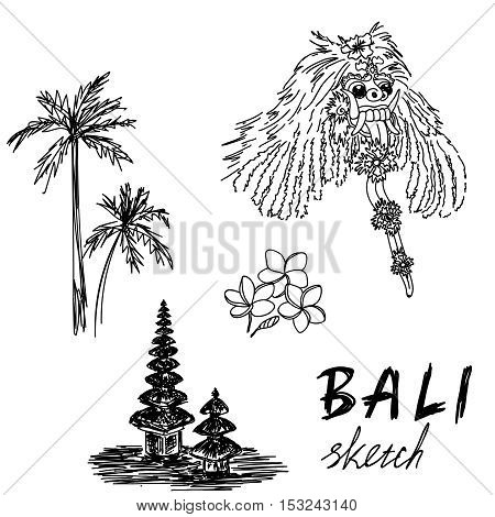 Bali sketch. Temple, Barong, palms, frangipani Religious ceremony traditional holiday flora EPS 10