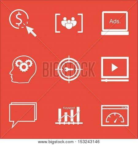 Set Of Advertising Icons On Brain Process, Conference And Digital Media Topics. Editable Vector Illu