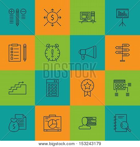 Set Of Project Management Icons On Report, Computer And Schedule Topics. Editable Vector Illustratio