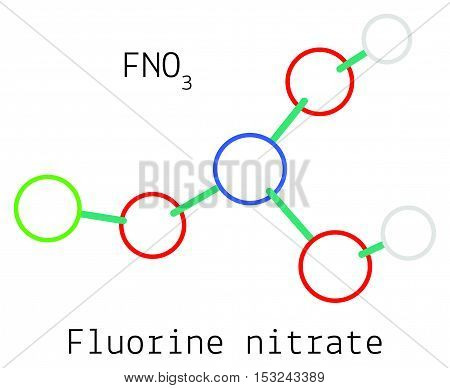 Fluorine nitrate FNO3 molecule isolated on white