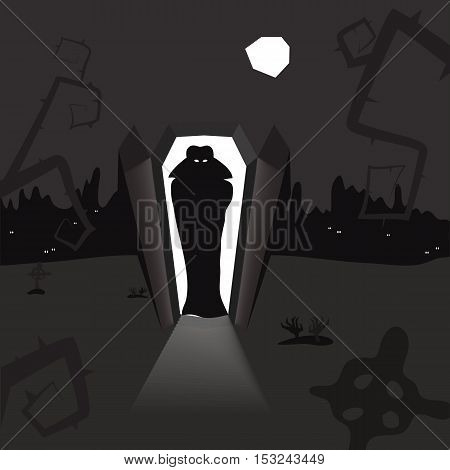 illustration of uprising of the vampire in the cemetery