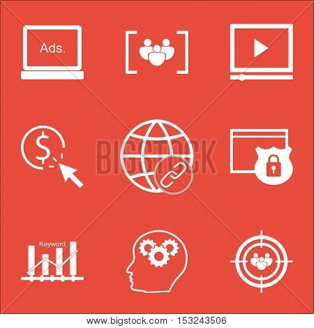 Set Of Seo Icons On Questionnaire, Video Player And Security Topics. Editable Vector Illustration. I