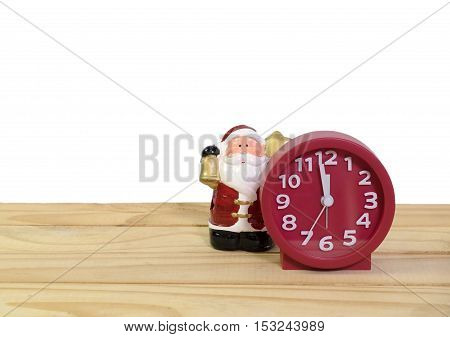 Santa Claus statues and clocks for decorate