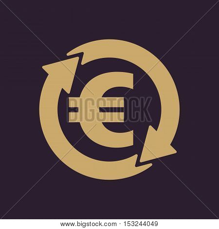 The currency exchange euro icon. Cash and money, wealth, payment symbol. Flat Vector illustration