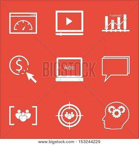 Set Of Marketing Icons On Video Player, Loading Speed And Digital Media Topics. Editable Vector Illu