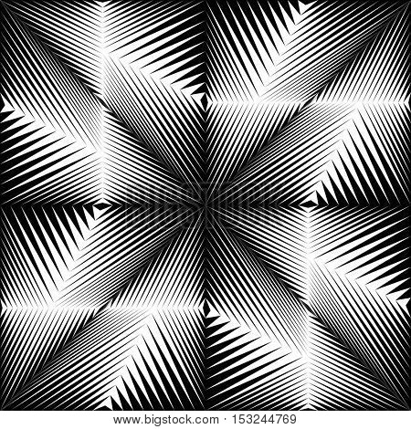 Seamless Crystal Pattern. Vector Black and White Gradient Background. Optical Illusion Wallpaper. Abstract Graphic Design
