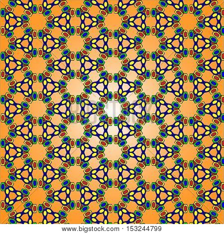 illustration bright pattern texture of geometric shapes yellow green blue red on orange gradient background