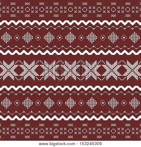 Nordic knitted seamless pattern. Vector art in Norwegian style.