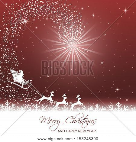 Merry Christmas and Happy New Year vector illustration with glare and Santa on sleigh with reindeer.