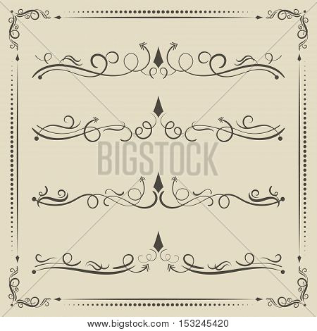 Vector calligrpahic curled divider decorative elements and page decor.