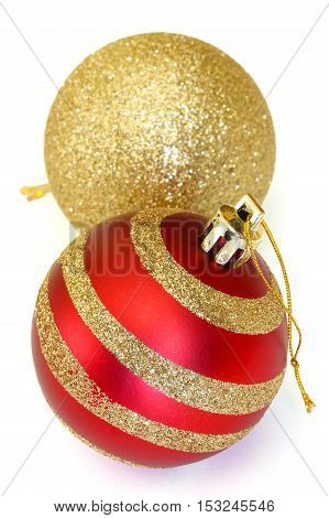 two christmas decoration balls isolated on white