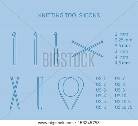 Knitting tool icon set. Minimalism, neat outlines EPS 10