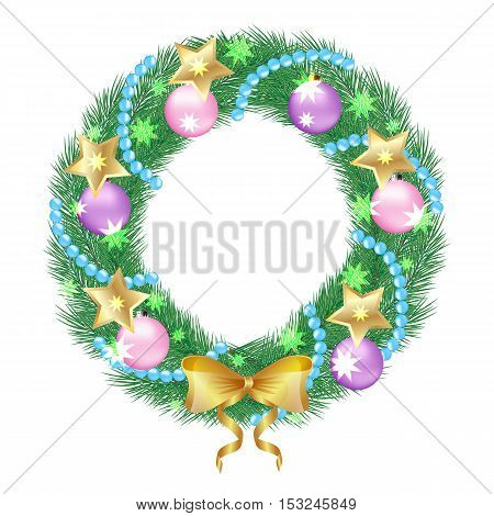 a Christmas wreath of fir twigs decorated with pink balls and bow. Isolated object on a white background vector illustration