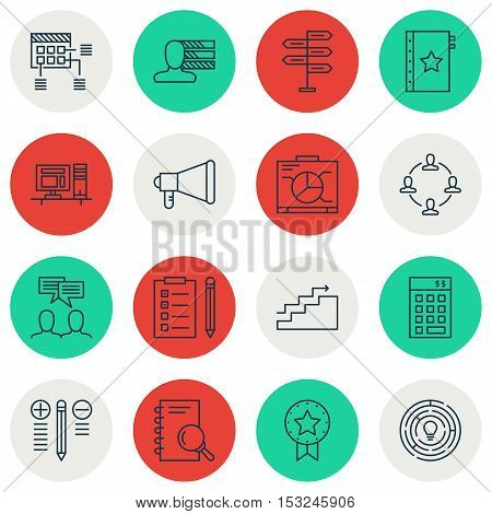 Set Of Project Management Icons On Present Badge, Board And Analysis Topics. Editable Vector Illustr