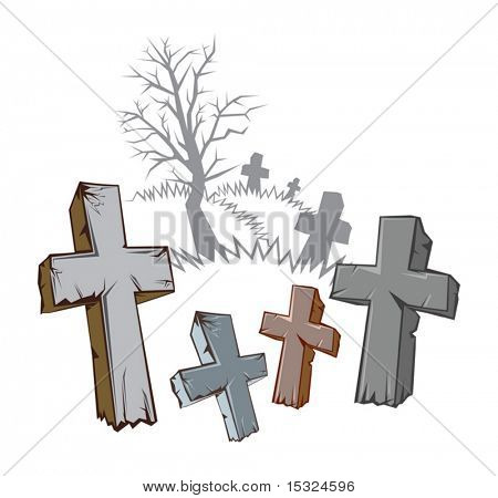 set of Old Stone Cross with Graveyard Silhouette isolated on white