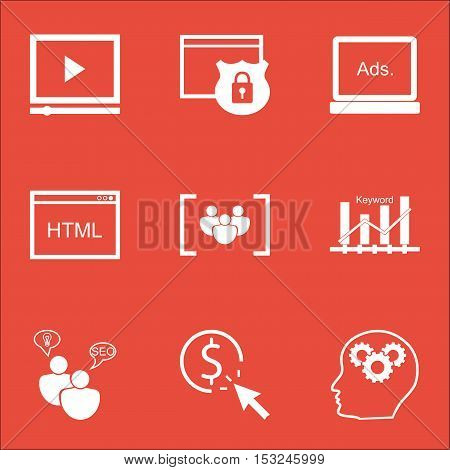 Set Of Seo Icons On Video Player, Coding And Keyword Optimisation Topics. Editable Vector Illustrati