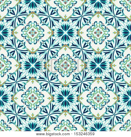 Vector seamless texture. Beautiful colored pattern for design and fashion with decorative elements. Portuguese tiles Azulejo Moroccan ornaments