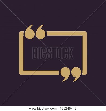 The Quotation Mark Speech Bubble icon. Quotes, citation, opinion symbol. Flat Vector illustration