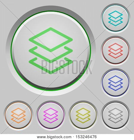 Layers color icons on sunk push buttons